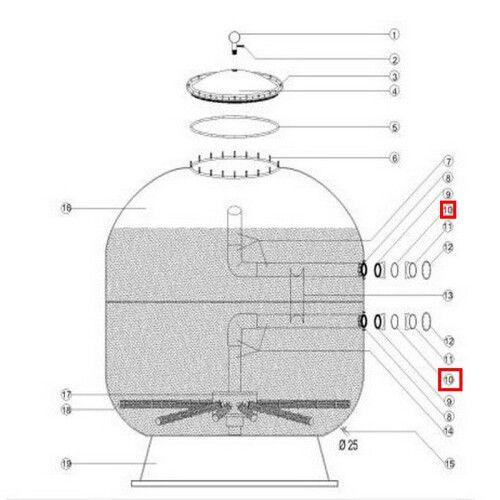 Плоская резиновая прокладка муфты-фланца фильтра D1050/1250 мм Aquaviva