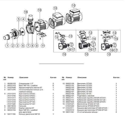 Насос для фильтрационной системы Emaux ST020, 3.5 м3/ч
