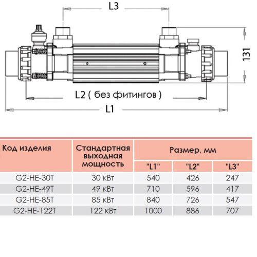 Теплообменник G2I 122 кВт Incoloy Elecro