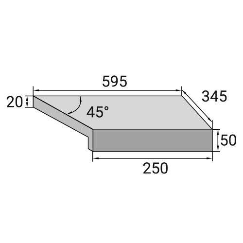 Г-образный угловой элемент бортовой плитки Aquaviva Ardesia Black, 595x345x50(20) мм