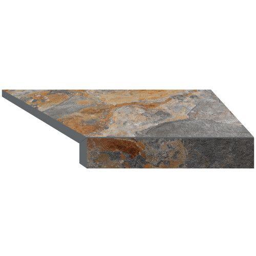 Г-образный угловой элемент бортовой плитки Aquaviva Ardesia Loft, 595x345x50(20) мм