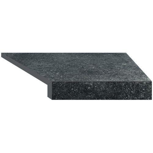 Г-образный угловой элемент бортовой плитки Aquaviva Granito Black, 595x345x50(20) мм