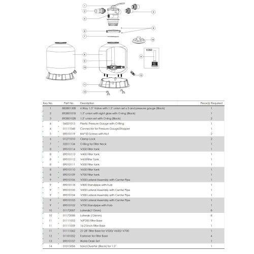 Фильтрационная бочка с верхним подключением Emaux V350, 4.32 м3 / ч